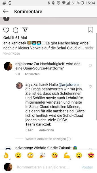 Screenshot von Instagram