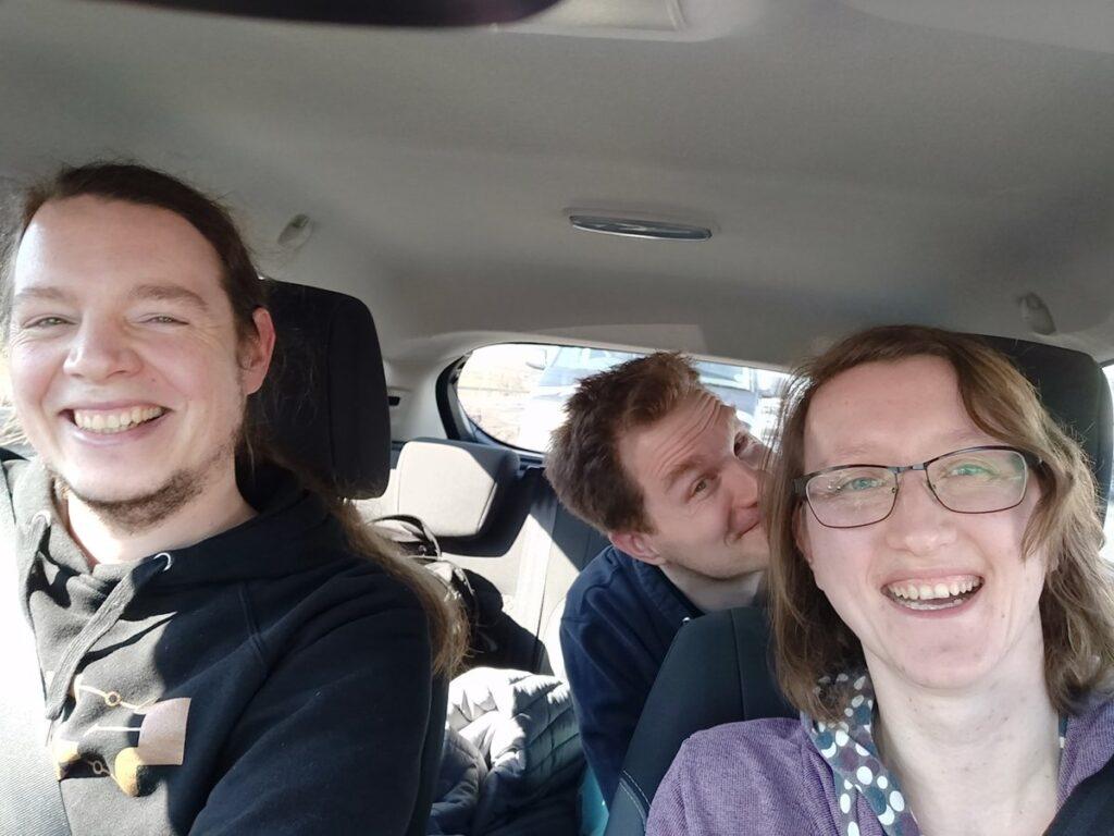 A, O und Kai auf dem Weg nach Köln.