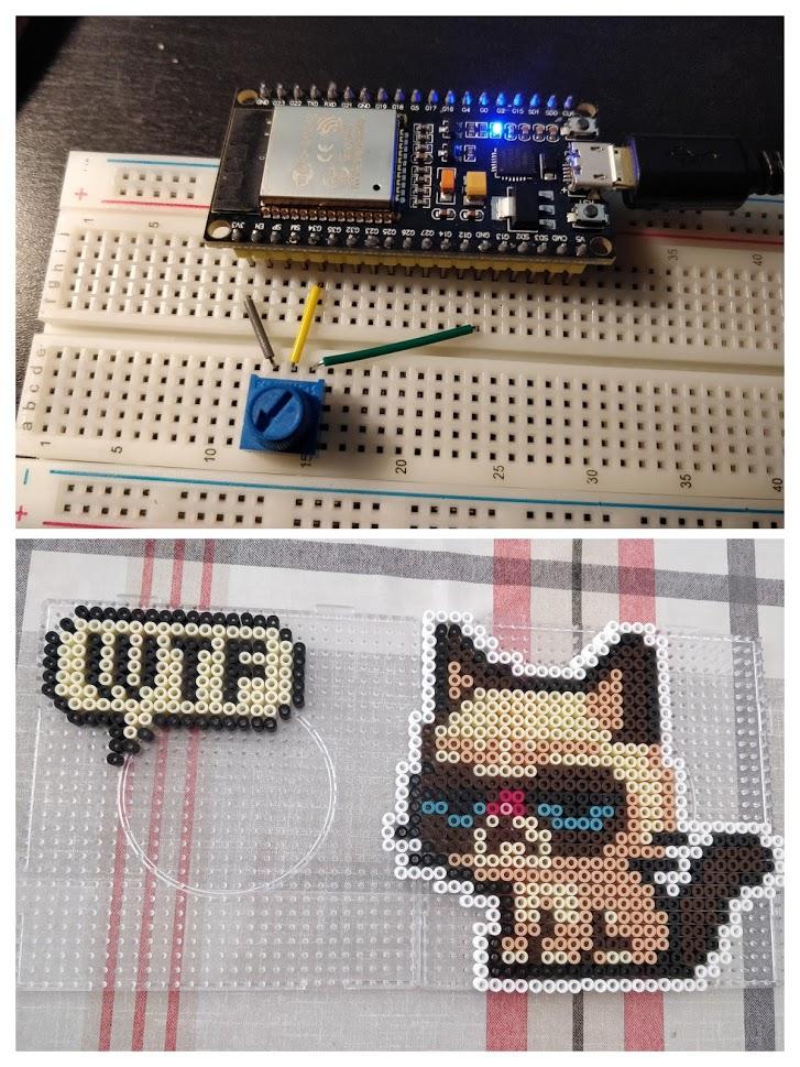 Der Mikrocontroller ESP32 blinkt, im zweiten Bild Bügelperlenbilder mit einer WTF-Sprechblase und Grumpy Cat.